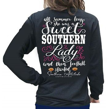 Southern Attitude Preppy Sweet Southern Lady Football Long Sleeve T-Shirt