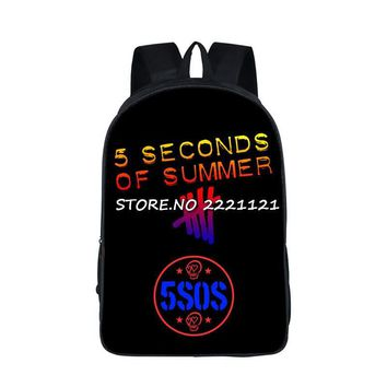 5 Second Of Summer Backpack For Teenage Girls Boys You Complete Mess Me School Bag 5SOS Luke Hemmings BookBag Ashton Irwin Bags