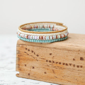 Summer Memory Wire Wrap Bracelet, Aqua Green Bronze Ivory Lilac Bracelet, Seed Bead Coil Bangle, Boho Jewelry