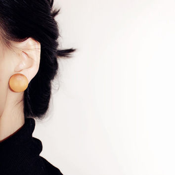 Stylish Handmade Small Orange Round Natural Wood Stud Earrings For Women