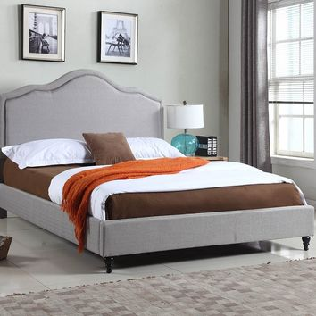 "New Century® Gray Linen 51"" Inches Headboard Platform Bed"