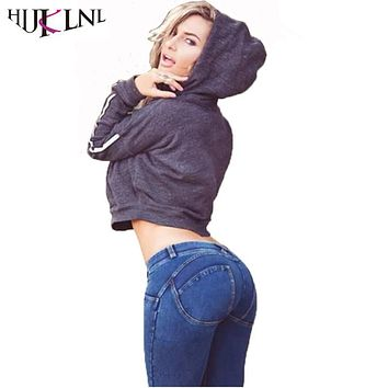 HIJKLNL Sexy Freddy Push Up Jeans Women Solid High Waist Peach Hip Denim Pants Femme Skinny Elastic Jeans pantalones NA115