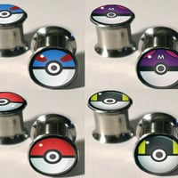 Pokemon Pokeball Plugs 0g  1/2 by CoffinRockShop on Etsy