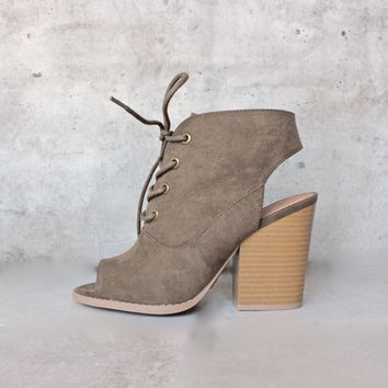 Adventure Lace Up Peep Toes Suede Bootie   Khaki