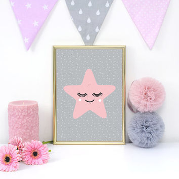 Star Poster, Star Kids Print, Nursery Print, Wall Art, Kids Room Decor,Star Art Print, Baby Print Poster,Nursery Room Decor, Pink Star Print