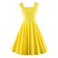 Women Summer Retro Vintage Dress Big Swing Party Robe Rockabilly 50s Party Dresses Plus Size Black Yellow Red Feminine Vestidos