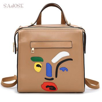 Faux Leather Cartoon Face Backpack