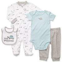 Carter's Baby Set, Baby Boys Four-Piece Bib, Coverall, Bodysuit and Pants - Kids Baby Boy (0-24 months) - Macy's