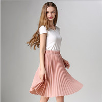 Pleated skirt to restore ancient ways of tall waist skirts Pink