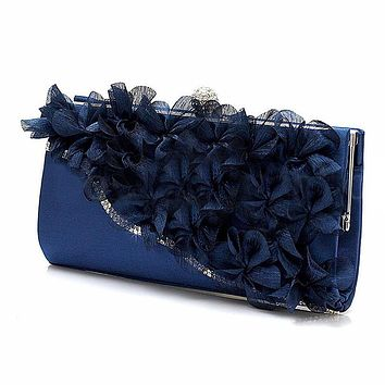 TFTP Lady Satin Clutch Bag Flower Evening Party Wedding Purse Chain Shoulder Handbag