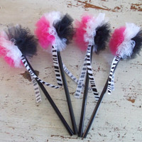 Hot Pink Black WHite Zebra Print Pencils with Tulle POmPOm Toppers