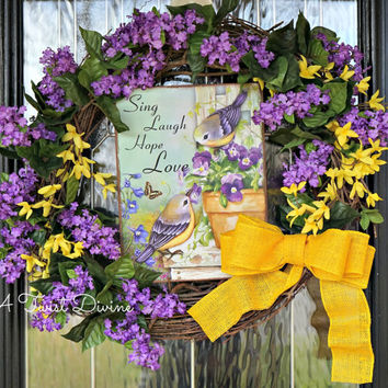 Sing Laugh Hope Love Purple and Yellow Spring Wreath, Spring Wreath, Spring Bird, Spring Grapevine Wreath, Spring Door Decor, Spring Decor