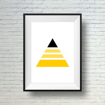 Minimalist Art Print, Geometric Print, Modern wall art, Black And Yellow Triangle Print