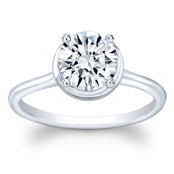 Ladies 14k white gold thin band engagement ring solitaire with 1.50 ct natural Round Brilliant White Sapphire center