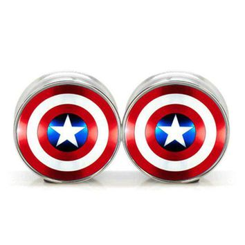 ac PEAPO2Q 1 pair plugs stainless steel Captain America double flare ear plug gauges tunnel body piercing jewelry PSP0018