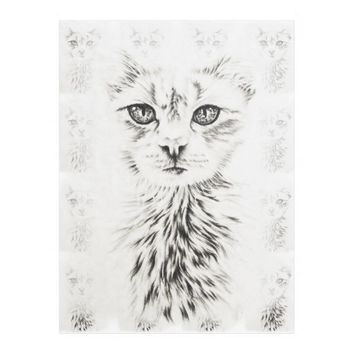 White Cat drawing of chic pet portrait cat art Fleece Blanket