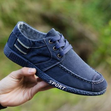 Navy Blue Denim Canvas Casual Shoes