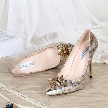 Jimmy Choo Women Fashion Rhinestone Heels Shoes-5