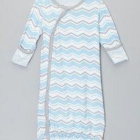 Baby Roo Blue Zigzag Fold-Over Gown - Infant | zulily