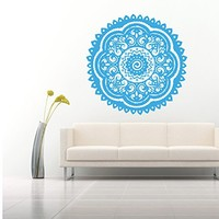Wall Decal Vinyl Sticker Decals Art Home Decor Murals Decal Mandala Ornament Indian Geometric Moroccan Pattern Yoga Namaste Flower Lotus Flower Buddha Om Ganesh Bathroom Bedroom Dorm Decals AN33