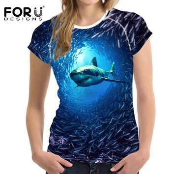 FORUDESIGNS Women 3D Female T shirt Short-sleeved Fashion Tops Blue Whale Shark Dolphin Printed T-Shirt Women's novelty Tshirt