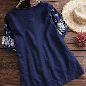 Embroidered V-neck Denim Shirts