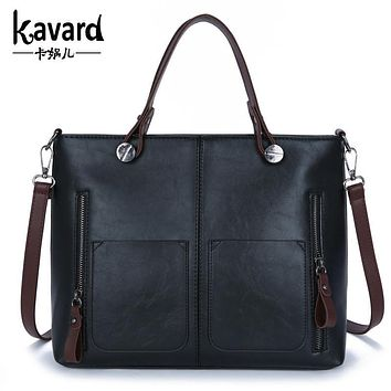 wax oil leather bag shoulder ladies hand bags women PU leather handbag sac 2017 woman bag handbags women famous brand sac a main