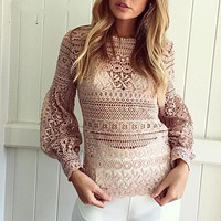 Women Fashion Solid Color Lantern Sleeve Doll Shirt Long Sleeve Hollow Lace Tops
