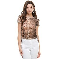 Snake Print Side Ruched Cap Sleeve Long Top