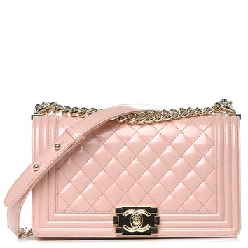 CHANEL Iridescent Calfskin Quilted Medium Boy Flap Light Pink