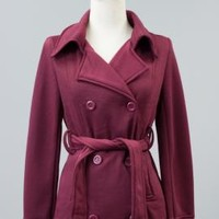 Metropolitan Sophistication Double Breasted Belted Coat in Wine | Sincerely Sweet Boutique